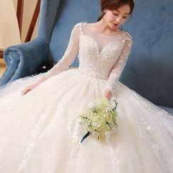 Caramelo - Embellished Long Sleeve Wedding Ball Gown