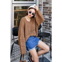 PPGIRL - V-Neck Loose-Fit Knit Top
