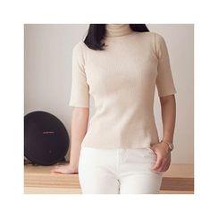 MASoeur - Turtle-Neck Short-Sleeve Rib-Knit Top