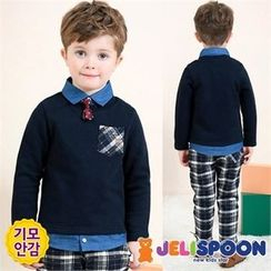 JELISPOON - Boys Set: Inset Shirt Top + Plaid Pants