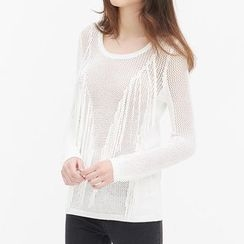 Obel - Fringed Loose Knit Sweater