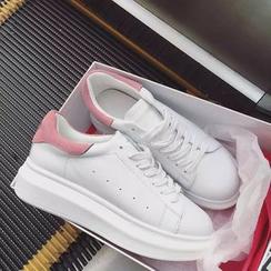Chryse - Contrast Color Heel Tab Platform Sneakers