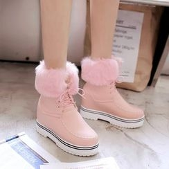 Pastel Pairs - Furry Trim Hidden Wedge Lace Up Snow Boots