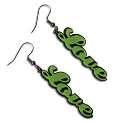 Sweet & Co. - Sweet Green Glitter Love Dangle Earrings