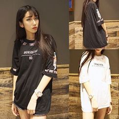 Melon Juice - Elbow-Sleeve Embroidered T-Shirt