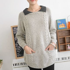 59 Seconds - Contrast Collar Sweater