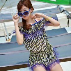 Rachel Swimwear - 套裝:比基尼 + 露肩條紋連衣裙