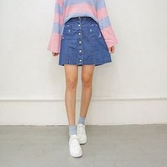 Seoul Fashion - Denim Distressed Skirt