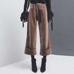 Sonne - 翻边加厚丝绒阔腿裤