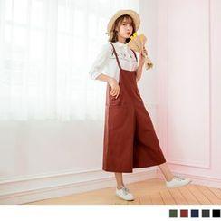 OrangeBear - Pocketed Pinafore Culotte Jumpsuit