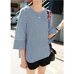 J-ANN - 3/4-Sleeve Stripe Top