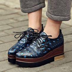 錦洋鞋業 - 繫帶圖案厚底鞋