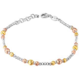 MaBelle - 14K Tri-Color Gold Diamond-Cut Beads Bracelet (6.5'')