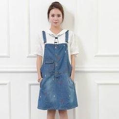 Waypoints - Embroidered Denim Jumper Skirt