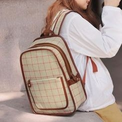 SUPER LOVER - PU-Trim Check Canvas Backpack