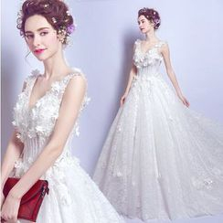 Angel Bridal - Sleeveless Applique A-Line Wedding Dress