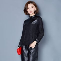 AiSun - Lace Trim Faux Leather Long Sleeve Top