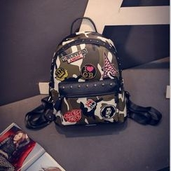 Bag Affair - Applique Faux Leather Backpack