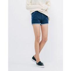 GUMZZI - Band-Waist Denim Shorts