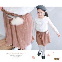 OrangeBear - Kids Frill-Trim Pleated Dot Print Skirt