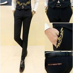 Kieran - Embroidered Slim Fit Pants
