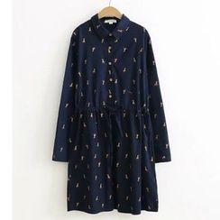 Citree - Giraffe Print Long-Sleeve Shirtdress