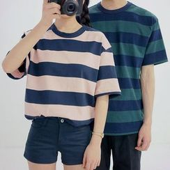 Seoul Homme - Couple Round-Neck Short-Sleeve Striped T-Shirt