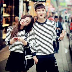 Evolu Fashion - Striped Couple Matching Sweatshirt