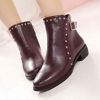 Mancienne - Studded Panel Buckled Short Boots