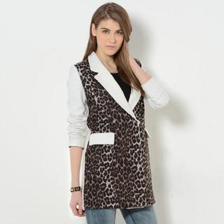 59 Seconds - Lace Collar Leopard Front Single-Button Coat