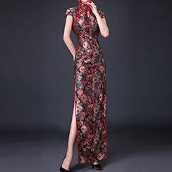 Posh Bride - Floral Cap Sleeve Maxi Qipao