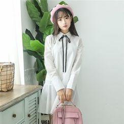 Bamuna - Set: Long Sleeve Shirtdress + Plain Knit Vest