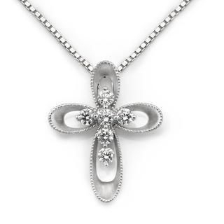 MaBelle - 18K White Gold Vintage Style Diamond Accents Cross Milgrain Pendant Necklace (0.23cttw) (FREE 925 Silver Box Chain, 16')