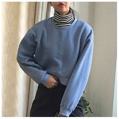 monroll - Set: Striped Turtleneck Long Sleeve T-Shirt + Cropped Pullover