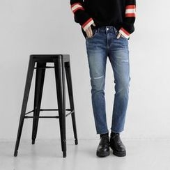 Seoul Homme - Straight-Cut Distressed Jeans