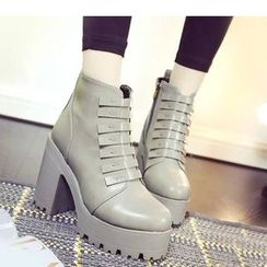 Amy Shoes - Platform Chunky Heel Short Boots