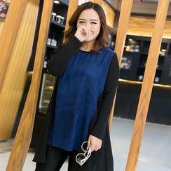 Amizi - Long-Sleeve Color block T-Shirt