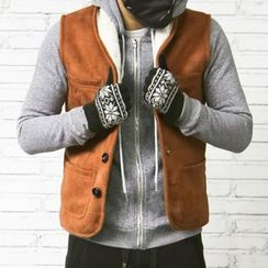 Mannmix - Fleece Lined Faux Suede Vest