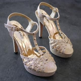 SV Footwear - Studded Metallic Platform Sandals