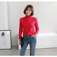 Miamasvin - Mock-Neck Cashmere Blend Knit Top