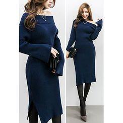 INSTYLEFIT - Drop-Should Bodycon Knit Dress