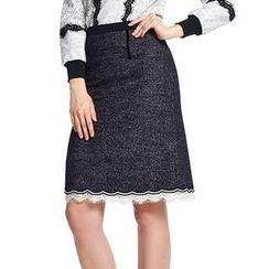O.SA - Scalloped Lace-Trim Skirt