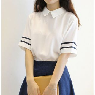 Rocho - Set: Striped Blouse + Denim skirt