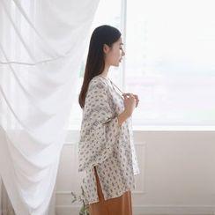 JUSTONE - Kimono-Sleeve Patterned Robe Jacket