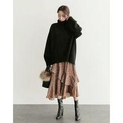 UPTOWNHOLIC - Floral Print Ruffle-Hem Skirt