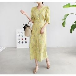 Miamasvin - 3/4-Sleeve Half-Placket Floral Long Dress