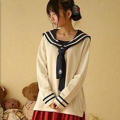 Moriville - Long-Sleeve Sailor Collar Top