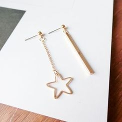 Gold Beam - Star Non-Matching Drop Earrings