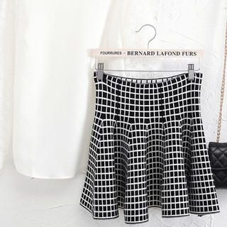 JVL - Wool-Blend High-Waist A-Line Patterned Skirt