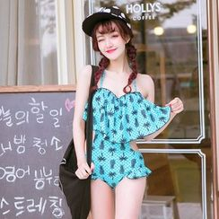 Anfory - Pineapple Print Ruffle Swimsuit